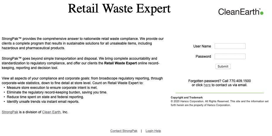 Retail Waste Expert payment portal screenshot